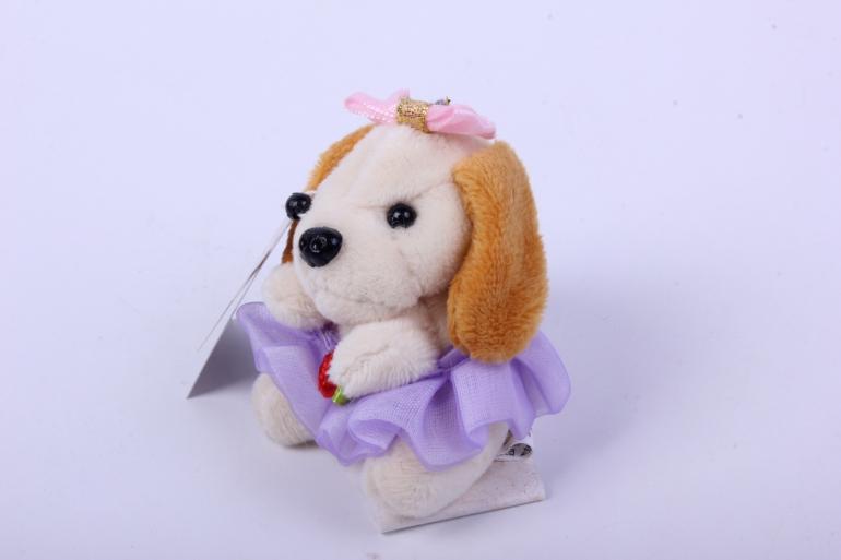 игрушка для букета- собачка белая 016lm h=7см
