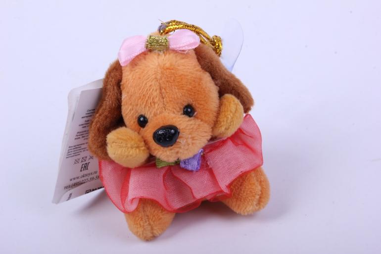 игрушка для букета- собачка персиковая 016lm h=7см