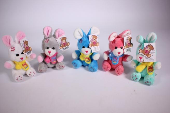 игрушка для букета - заяц цветной микс 6 цв. h=12см (1шт) 15020/9