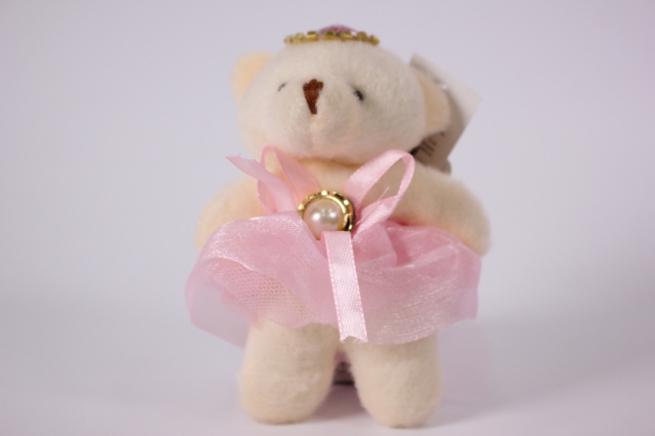 игрушка для букетов - медведь (розовое платье) h=12см №02