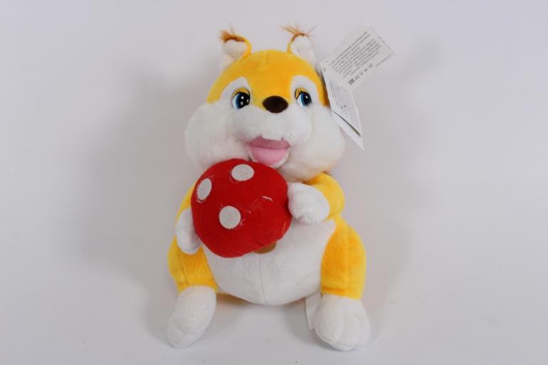 игрушка мягкая белка с мухомором  3244-аг