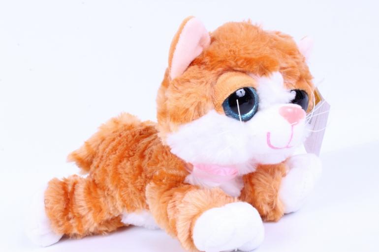 игрушка мягкая кошка бело/рыжая  м-3027