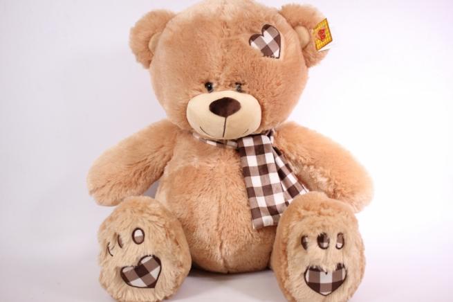 игрушка мягкая медведь бежевый с заплаткой 48см  1104/48