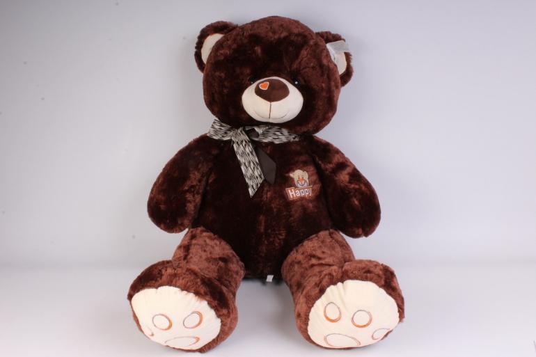 игрушка мягкая медведь с бантом коричневый 58 см  аг-1691/58