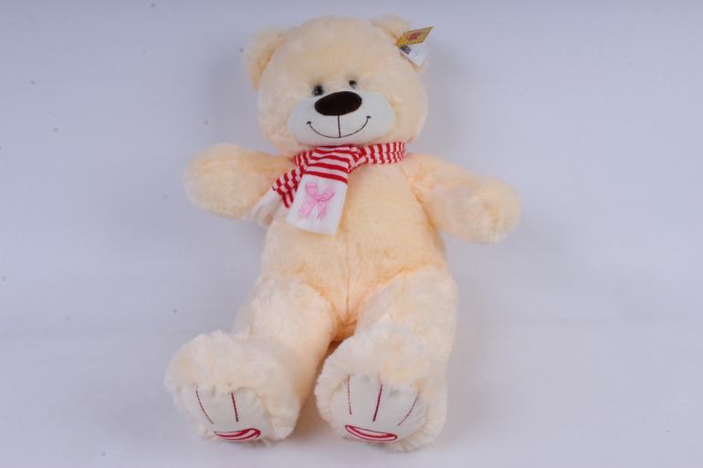 игрушка мягкая медведь с бантом шампань 38см  м-1064/38