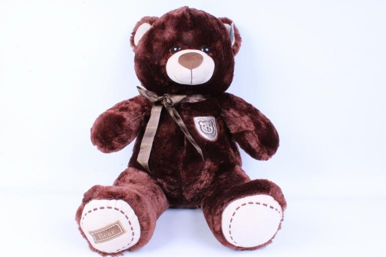 игрушка мягкая медведь с бантом шоколадный  50см   аг-1779/50
