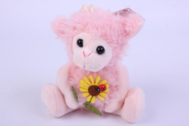 игрушка мягкая овечка розовая с цветком  2730-л