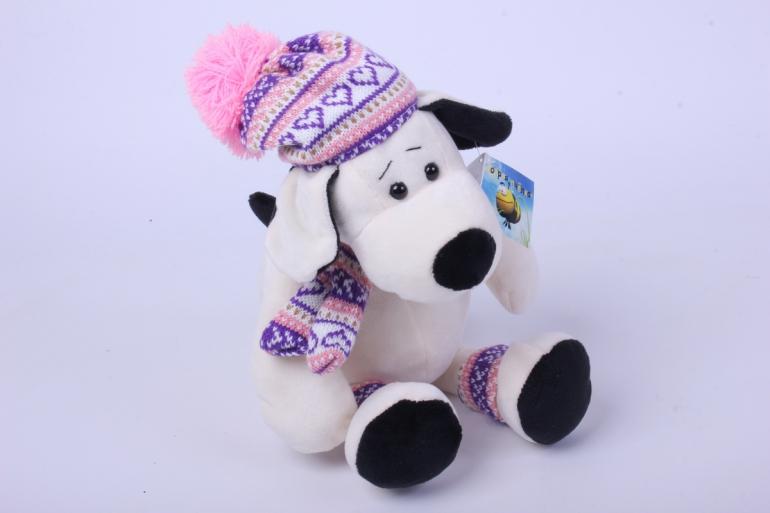игрушка мягкая собака в светлой шапке 24 см ма-18695/с
