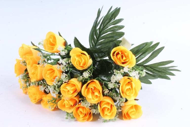 Искусственное растение - Розы с пальмой жёлтые