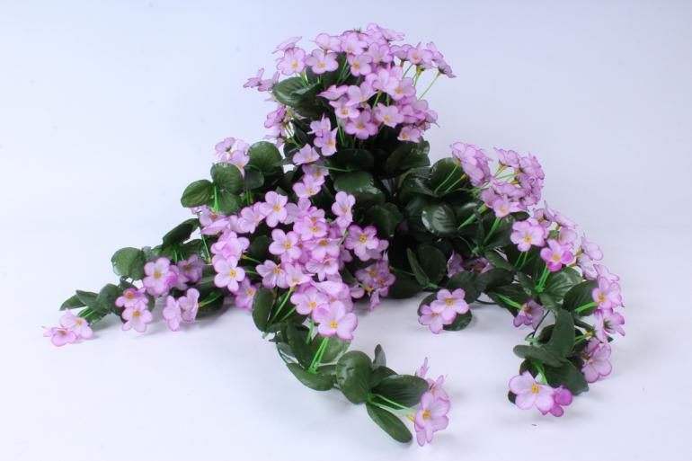 искусственное растение - букет фиалок ниспадающий розовый