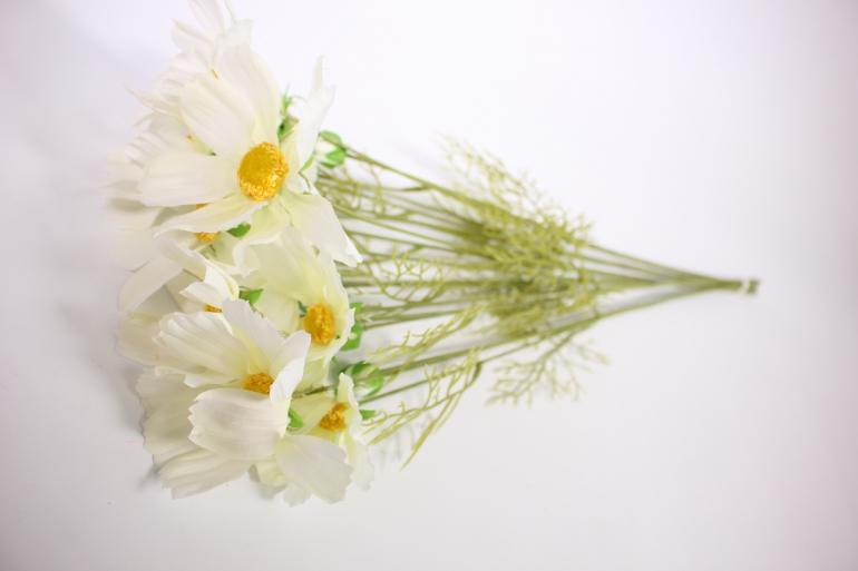 искусственное растение - космея 45см белая (6 шт в уп) sun448