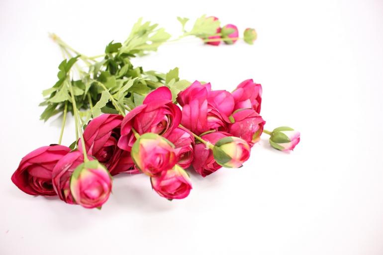 искусственное растение - ранункулюс 45см бордо( 6 штв уп) san449