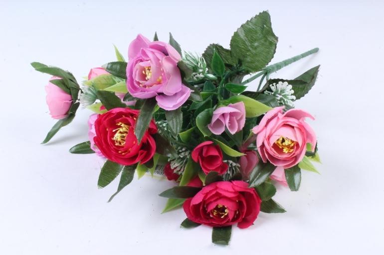 Искусственное растение -  Ранункулюс с клевером вишнёво-розовый  Б9934