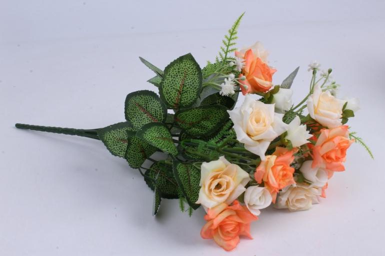 искусственное растение - роза кудрявая шампань-персик h=35cm