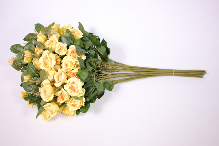 искусственное растение - роза кустовая 35см желтая (12 щт в уп) sun415