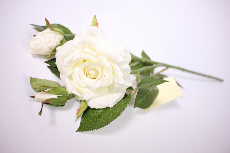 искусственное растение - ветка розы 45см белая sun425