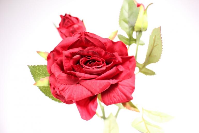 искусственное растение - ветка розы 45см красная sun425
