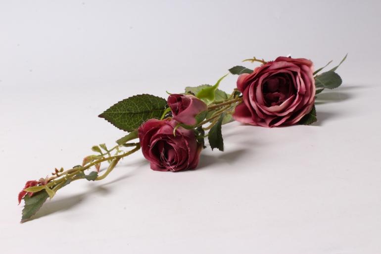 искусственное растение - ветка розы 65см лиловая sun382