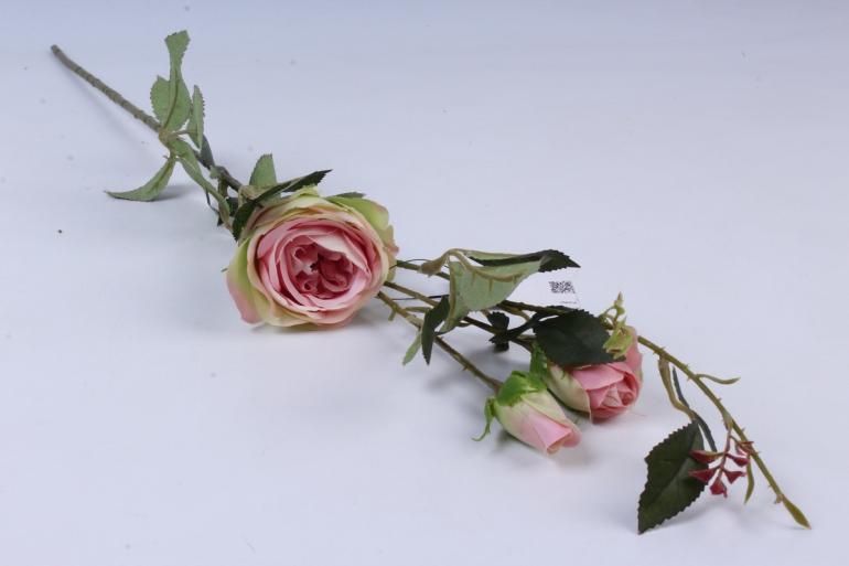 искусственное растение - ветка розы 65см розово-салатовая sun382