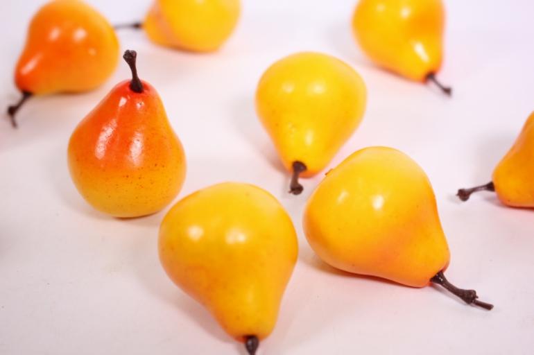 искусственные фрукты - груша желто-красная 3см (10шт)