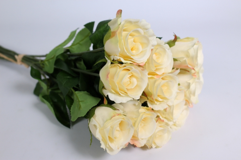 искусственные растения - роза 44см кремовая (12шт в уп)