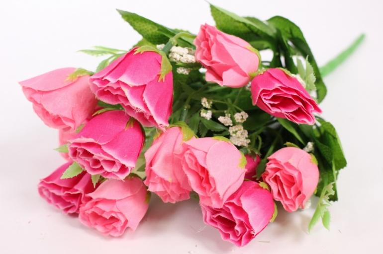 искусственные растения - роза бутоны с гипсофилой малиново-розовые l=35см 18460-2