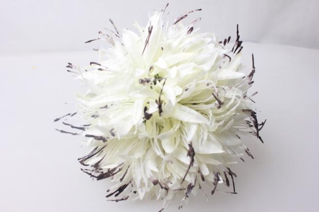 искусственные растения - шар лилия белый  20см  ku001