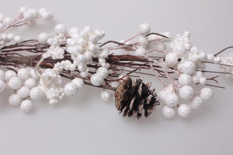 искусственные растения - ветка снежная ягода с шишками 70см 1993