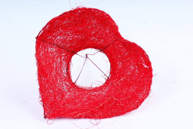 Каркас сизаль  Сердце   Красное   (1шт)