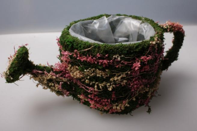кашпо чайник из травы 13113-1