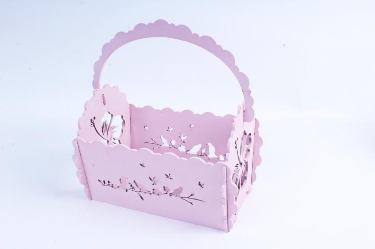 Кашпо деревянное (И) Прямоугольник Птицы розовая пенка