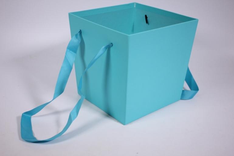 кашпо для цветов (квадрат с ручками) бирюза