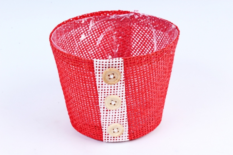 Кашпо из бумажной сетки-внутри пластик красное  WH13-284MIX
