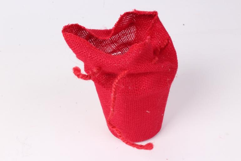 кашпо из мешковины d=12, h=17см, красное 160421а
