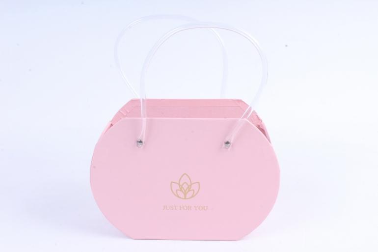 Кашпо Сумка с прозрачными ручками розовая