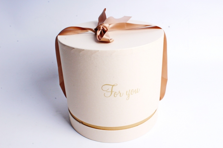 "Коробка подарочная одиночная-Цилиндр ""For you"", цв. беж+золото,5510"
