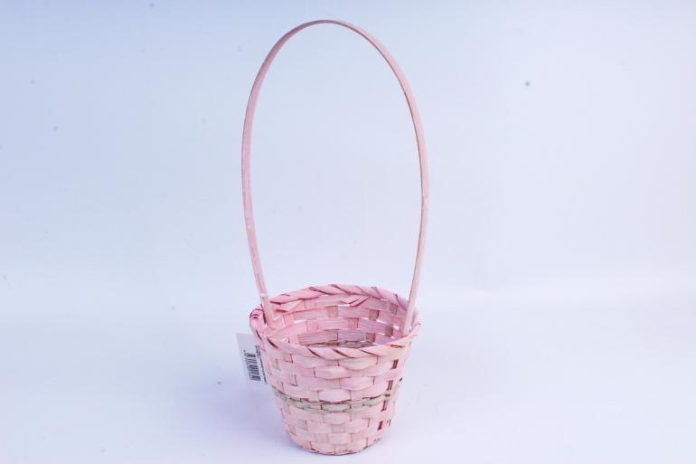 Корзина плетеная (бамбук) - Круг  (розовая) 1840