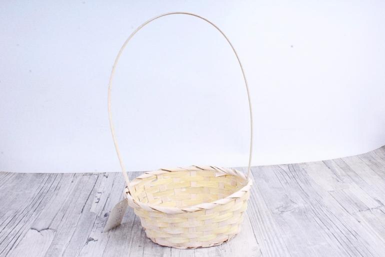 Корзина плетеная (бамбук)-Круг  Желтый  2090