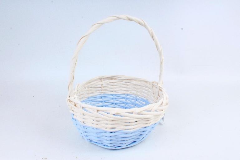 Корзина плетеная (ива), 1 шт., цв. голубой с белым декором 8580