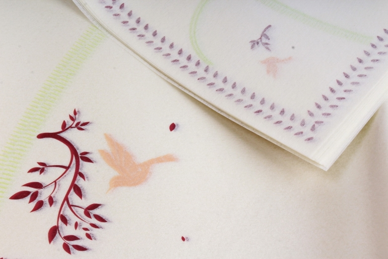 """Ламинированный фетр """"Птички"""" 60x60cm (10 листов), Сливовый"""