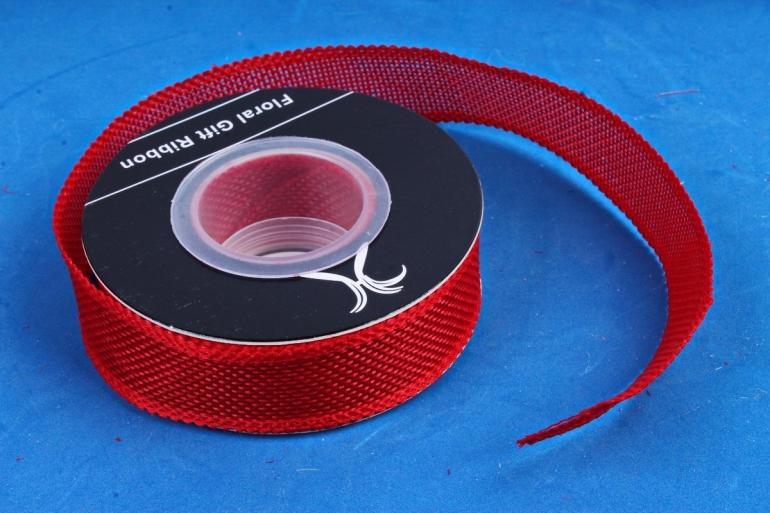 Лента джутовая, 2,5см*10м красный (Н)