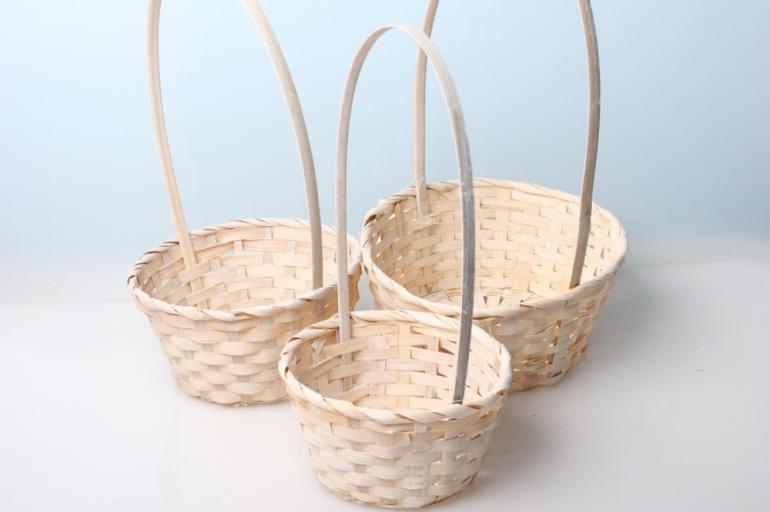 набор плетеных корзин (бамбук) белый d=16, h=10/32см 8721
