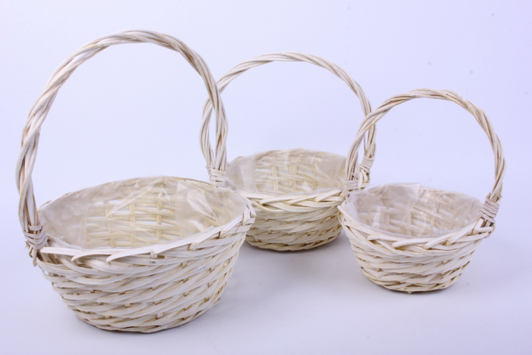 набор плетеных корзин из 3шт-(ива)  круг белёный   кс-377