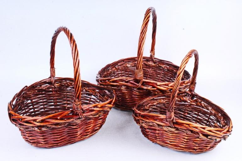Набор плетеных корзин из 3шт-(ива) - Овал коричневый   КС-397