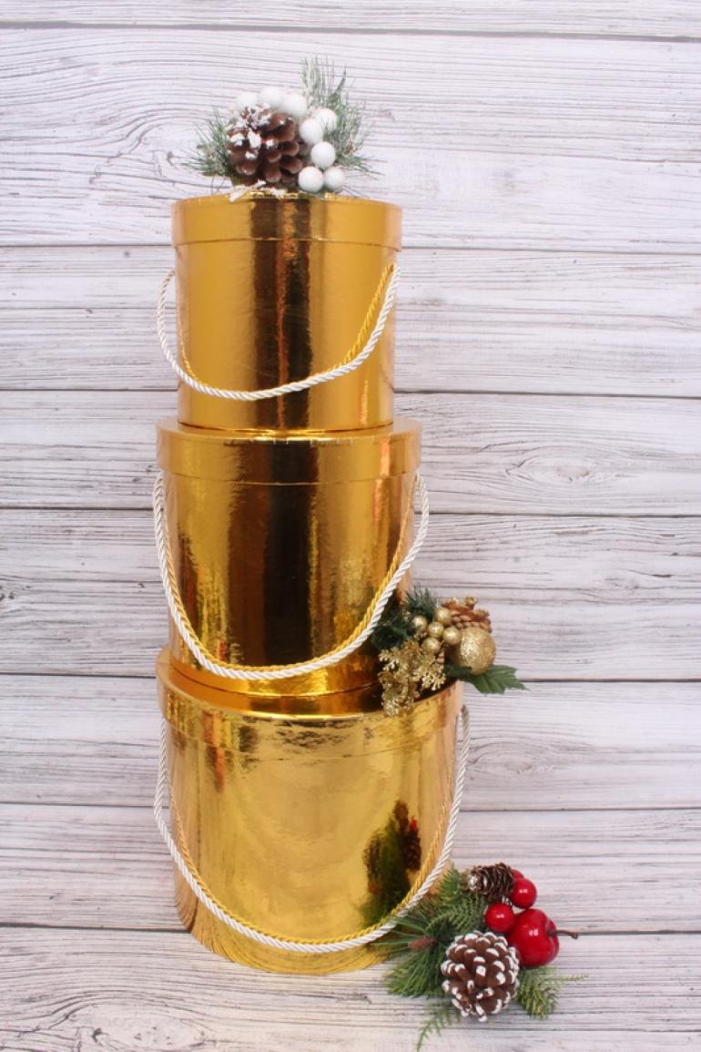 Набор подарочные коробок из 3 шт - Цилиндр металл золото d=21, h=19см  N283