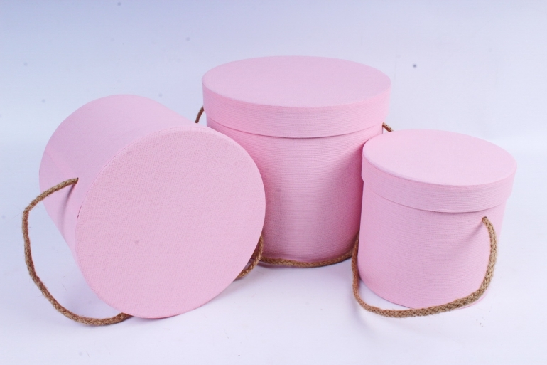 Набор подарочные коробок из 3 шт - Цилиндр тисненый розовый  К203