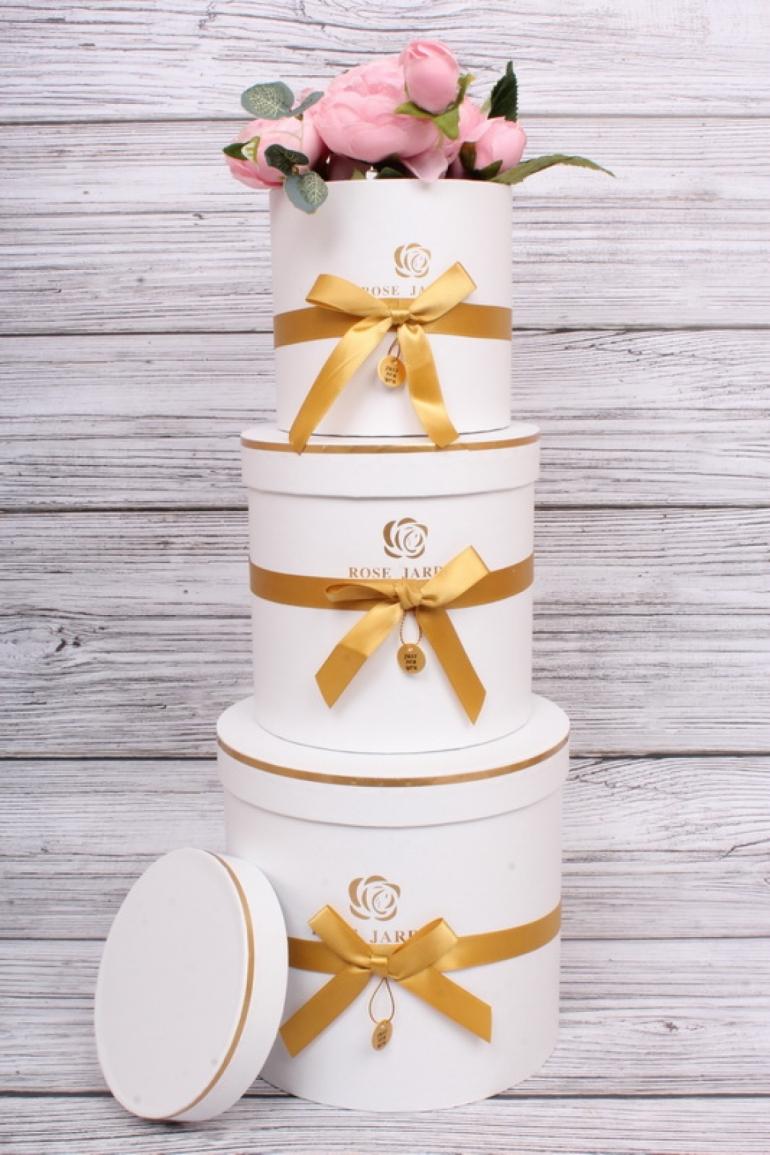Набор подарочные коробок из 3 шт - Цилиндр золотой бантик белый d=17, h=16.5см  В153