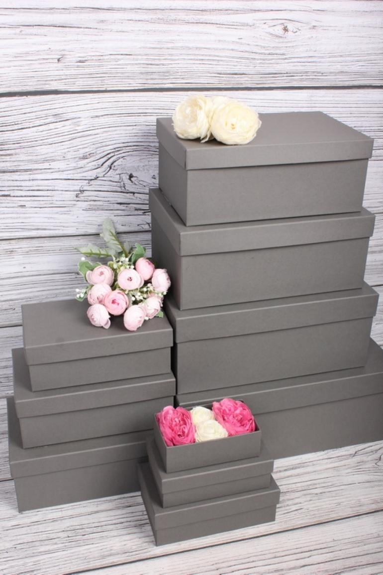 Набор подарочные коробок из 10шт -  Прямоугольник глубокие Антрацит 32,5х20х12,5см Пин10-Ант