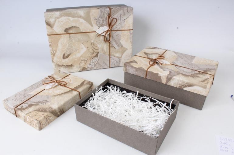 Набор подарочных коробок-( 3 шт) Прямоугольник Прямоугольник Винтаж бежевый 33*25*11 S643