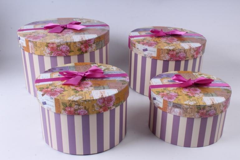 Набор подарочных коробок из 4шт - Цилиндр цветы/открытки  d=28/h=19см К750